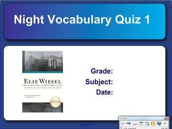 Night by Elie Wiesel Simple Smart Notebook Vocabulary Quiz