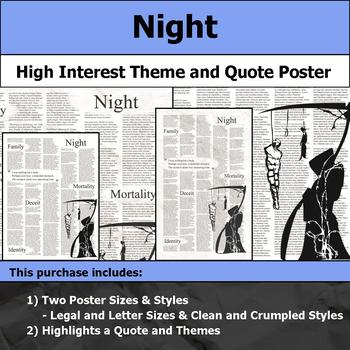 Night by Elie Wiesel Visual Theme and Quote Poster for Bulletin Boards Beauteous Night By Elie Wiesel Quotes