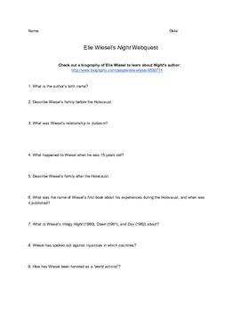 Night by Elie Wiesel Webquest