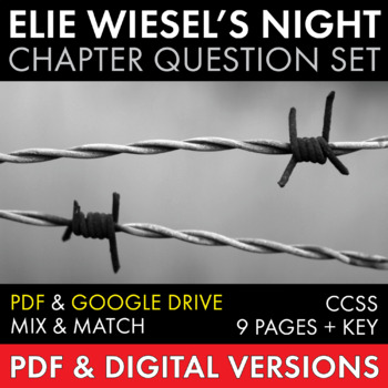 Night by Elie Wiesel, Worksheets, HW, Discussion Questions for WW2 Memoir
