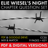 Night by Elie Wiesel, Chapter Questions Worksheets for WW2 Memoir, CCSS