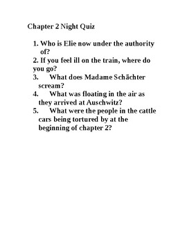 Night- by Elie Wiesel chapter 2 quiz