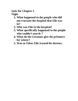 Night by Elie Wiesel chapter 5 quiz