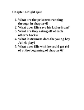Night by Elie Wiesel chapter 6 quiz
