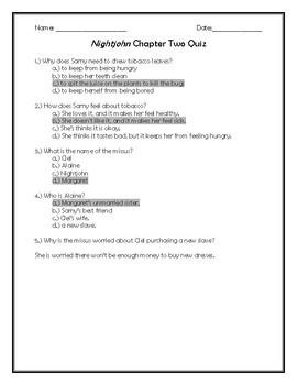 Nightjohn Chapter Two Quiz