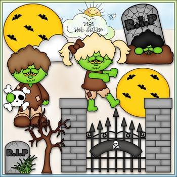 Night of The Zombies Clip Art - Halloween Clip Art - CU Cl