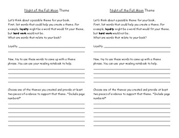 Night of the Full Moon Comprehension Questions and Theme Worksheet