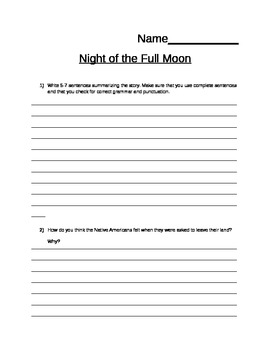 Night of the Full Moon by Gloria Whelan: Quiz