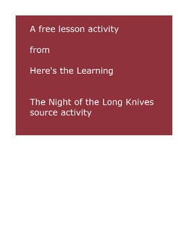 Night of the Long Knives primary source activity