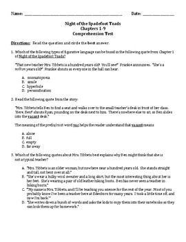 Night of the Spadefoot Toads Chap 1-9 Comprehension Test Standardized Test Style