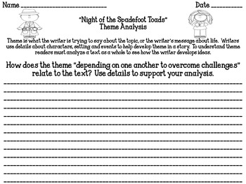 """Night of the Spadefoot Toads"" Theme Analysis"