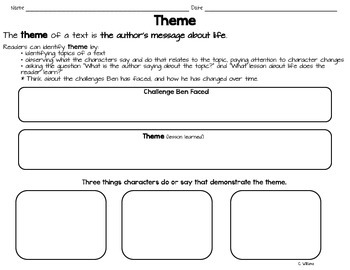 Night of the Spadefoot Toads - Theme - Graphic organizers