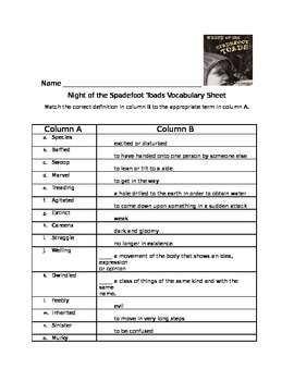 Night of the Spadefoot Toads Vocabulary Matching Sheet