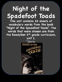 Readygen Night of the Spadefoot Toads Vocabulary  Word Wal