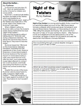 Night of the Twisters Novel Study + Enrichment Project Menu