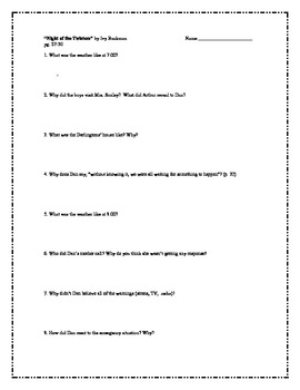 """""""Night of the Twisters"""", by I. Ruckman, Comprehension Questions"""