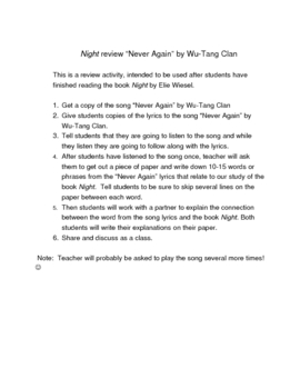 """Night review activity """"Never Again"""" by Wu-Tang Clan"""