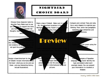 Nightbird Choice Board Tic Tac Toe Novel Activities Menu Assessment Book Project