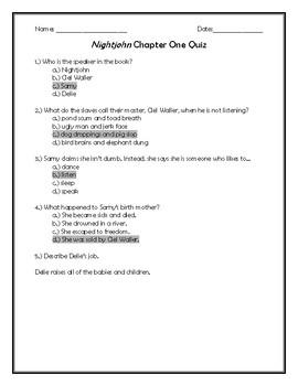 Nightjohn Chapter One Quiz