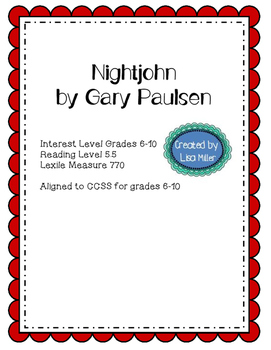 Nightjohn Novel Unit with Differentiated/Interactive Notes aligned to CCSS