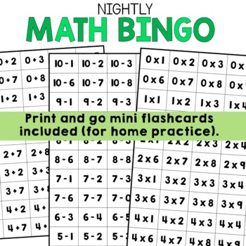 Nightly Math Fact Practice BINGO