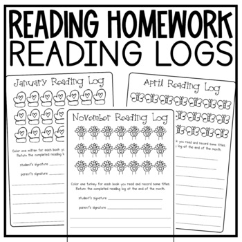 Nightly Reading Homework Monthly Reading Logs