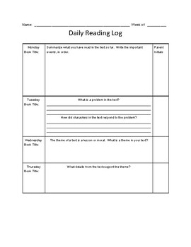 Nightly Reading Log BUNDLE,  with Reading Question Stems, Common Core Aligned