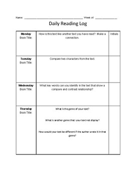 Nightly Reading Log (Compare and Contrast),  Common Core