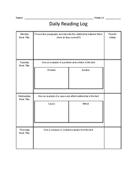 Nightly Reading Log (Text Structure),  Common Core