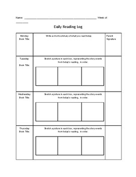 Nightly Reading Log (Visual Elements),  Common Core