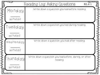 Reading Logs for EVERY 2nd Grade Common Core Reading Standard