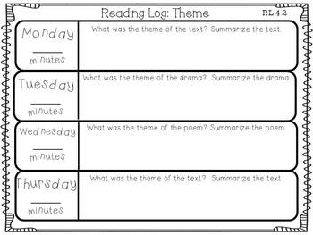 Nightly Reading Logs for EVERY 4th Grade Common Core Reading Standard