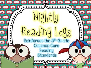 Nightly Reading Logs for EVERY 5th Grade Common Core Reading Standard