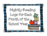 Nightly Reading Record Sheets for Each Month of the School Year