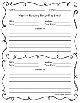 Nightly Reading Recording Sheet
