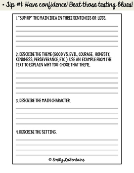Fourth Grade Test Prep: Reading-Response Booklet