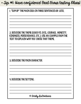 Fourth Grade Reading Response Booklet (Common Core)