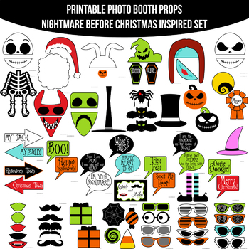 image about Nightmare Before Christmas Printable known as Nightmare Prior to Xmas Influenced Printable Photograph Booth Prop Mounted