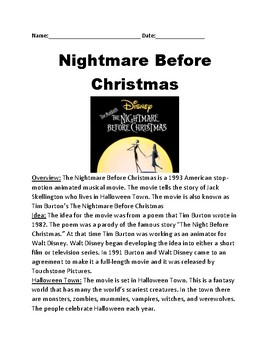 Nightmare Before Christmas - Movie lesson review plot facts question activities