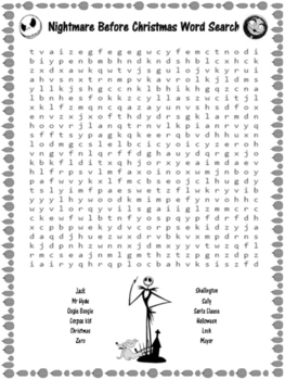 Nightmare Before Christmas Word Search {Halloween}