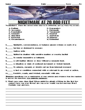 Nightmare at 20,000 Feet by Richard Matheson Assignment