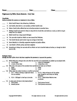 Nightmare by Willo Davis Roberts Unit Test