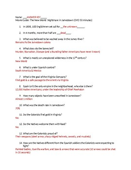 Nightmare in Jamestown Movie Guide ANSWERS