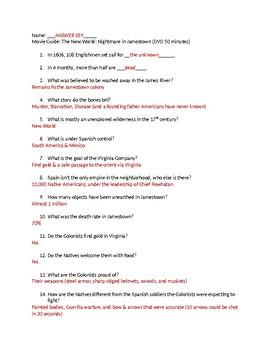 nightmare in jamestown movie guide answers by mrs history tpt rh teacherspayteachers com The Gettysburg Movie Questions Gettysburg 1993