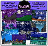 Nighttime Backgrounds Clip Art Bundle {Educlips Clipart}