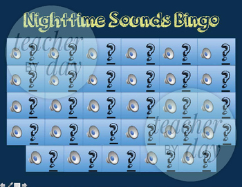 Nighttime Sound/Nocturnal Animals Bingo