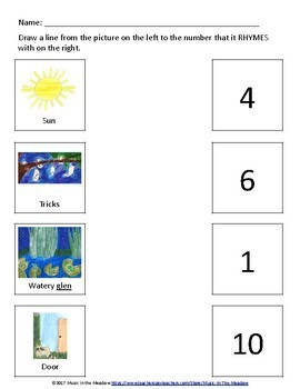 Nighttime in the Meadow Rhyme and Match Worksheet