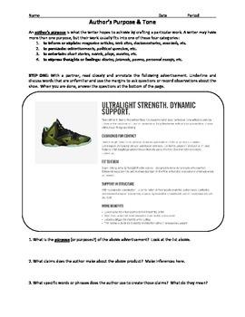 Author's Purpose & Common Core: Nike v. Macklemore