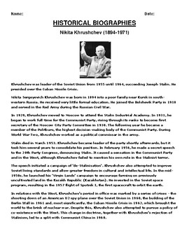 Nikita Khrushchev Biography Article and (3) Assignments