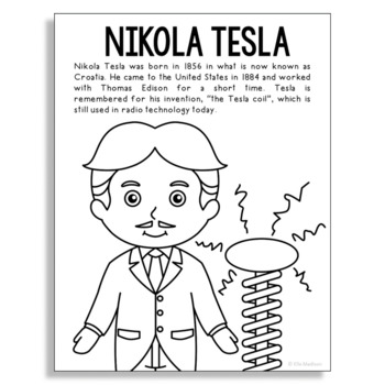 tesla coloring pages Nikola Tesla Coloring Page Craft or Poster, STEM Technology History tesla coloring pages